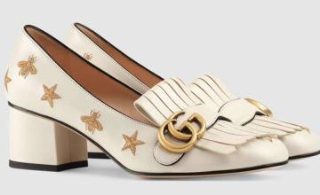 Embroidered leather pumps