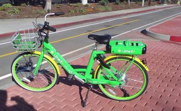 A dockless electric bike
