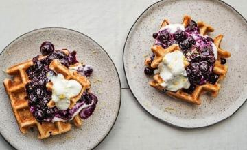 Waffles with Blueberry Compote and Lemon Ricotta Cream