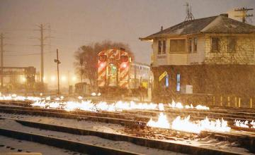 It's so cold in the midwest that train tracks are on fire