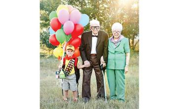 Birthday boy, five, poses in Up-themed photo shoot with great-grandparents