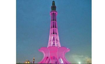 Minar-e-Pakistan is lit pink for PINKtober