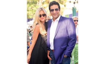 Wasim Akram joins wife Shaniera Akram to celebrate her successful campaign