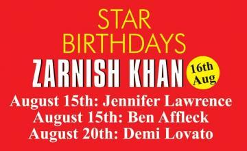 STAR BIRTHDAYS ZARNISH KHAN