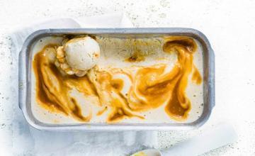 Roasted Banana Caramel Swirl Ice Cream
