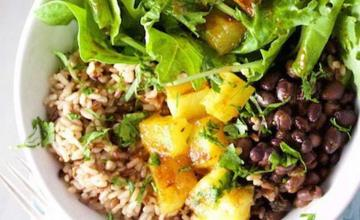 Brown Rice and Black Bean Bowl with Chile Ancho Dressing