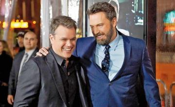 Ben Affleck in the new video with Matt Damon debuts his jaw-dropping new look