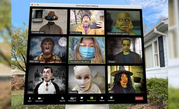 Lowa dad creates epic Zoom call Halloween costume for 12-year-old daughter