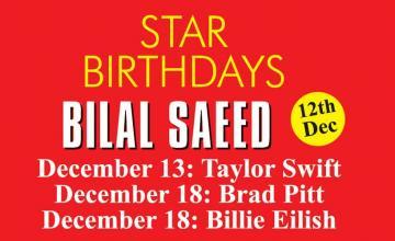 STAR BIRTHDAYS BILAL SAEED