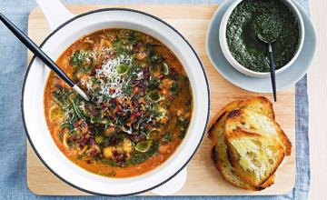 Goat's Cheese Crostini with Garlicky Beans and Silverbeet