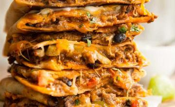 Beef and Cheese Quesadillas with Pickled Onion