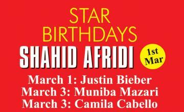 STAR BIRTHDAY SHAHID AFRIDI
