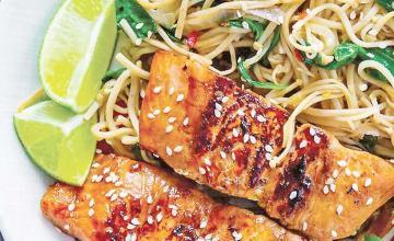 Chilli Salmon and Teriyaki Noodles