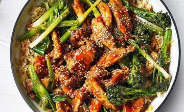 Sticky Sriracha Chicken Rice with Charred Vegetables