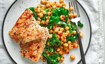 Grilled Hake with Chickpeas