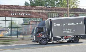 Truck for funeral home that says 'don't get vaccinated' actually part of pro-vaccine campaign